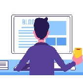 blogger man sitting new article